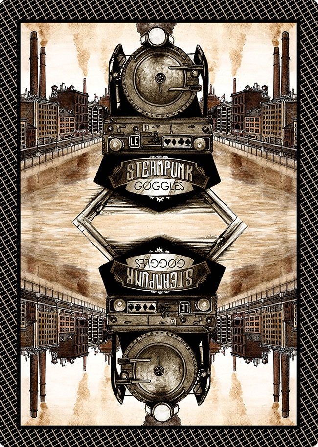 Limited Edition Playing Card Back - Steam Powered Locomotive - Colorization will reflect the image on the tuck case - Artwork including tracks will have minor adjustments to make the card symmetrical - CLICK IT TO PIN IT