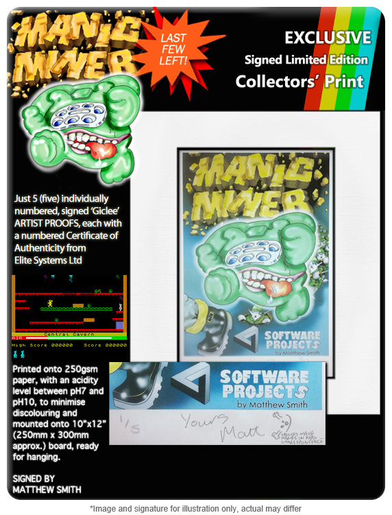 Manic Miner Artists' Proofs – Signed By Matthew Smith