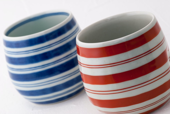 "Striped shochu ""dimple"" cups (THE SHOCHU FANATIC AWARD)."