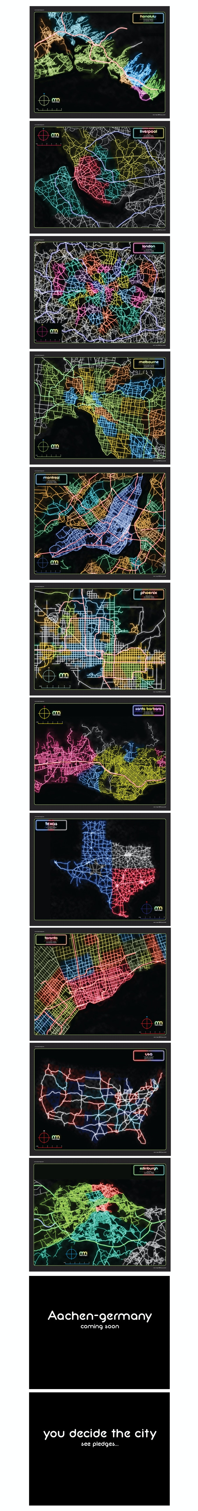 Neon maps colorful artistic poster prints by jay powell kickstarter special thanks to the following gumiabroncs Image collections