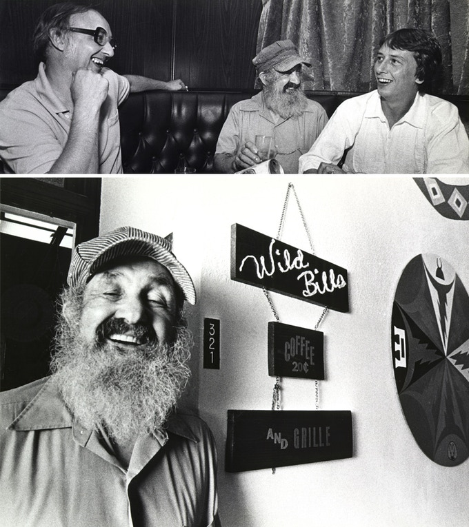 """Top: Tom Walz, Bill Sackter and Barry Morrow in a candid moment. Bottom: Bill Sackter in front of """"Wild Bill's Coffee Shop""""."""