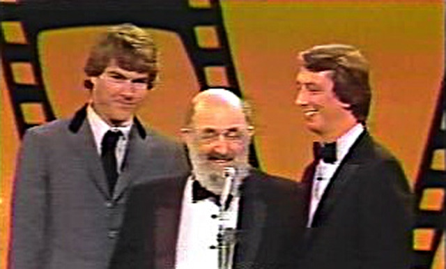 """Dennis Quaid, Bill Sackter, and Barry Morrow at the Golden Globe Awards for the tv movie """"Bill"""""""
