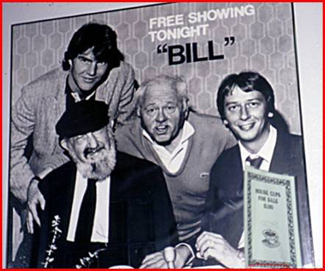 """Dennis Quaid, Bill Sackter, Mickey Rooney and Barry Morrow at the premiere of the tv drama """"Bill"""" in 1981"""