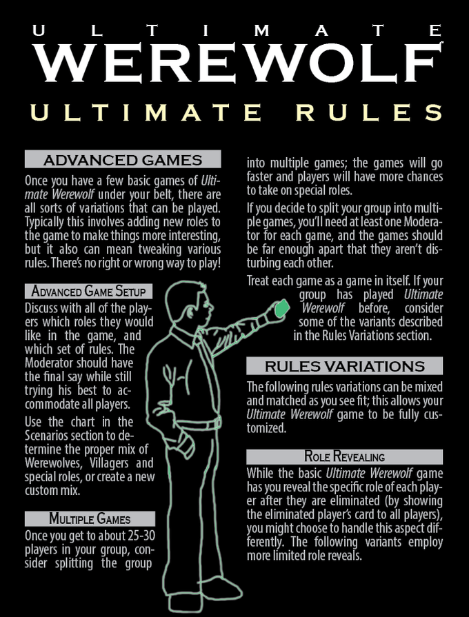 The Ultimate Werewolf Rules with advanced and optional rules, details and alternates on all the roles, tons of scenarios, a Team Building guide, Moderator guide, and much more!