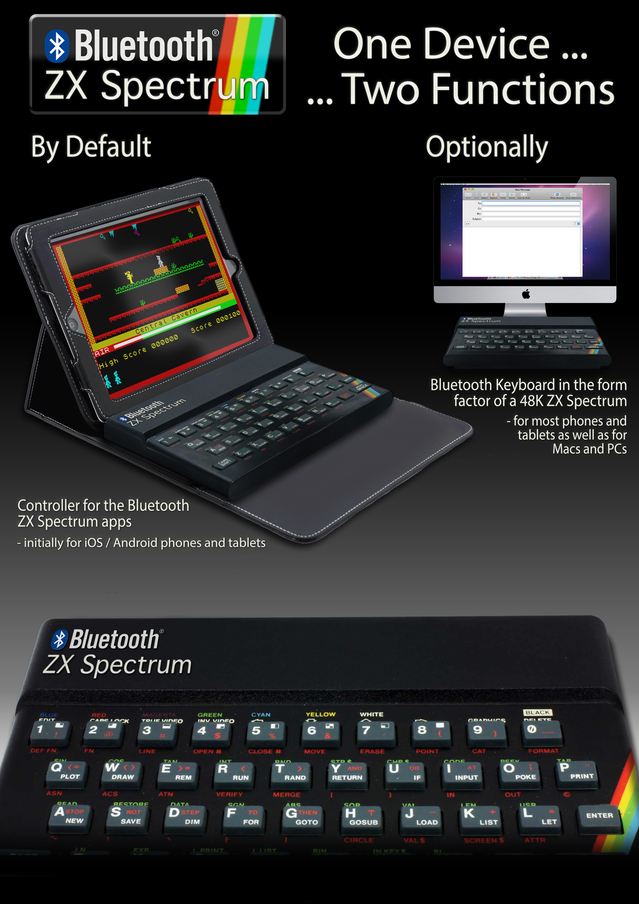 """The Bluetooth ZX Spectrum's features and functions: """"One Device ... Two Functions""""."""
