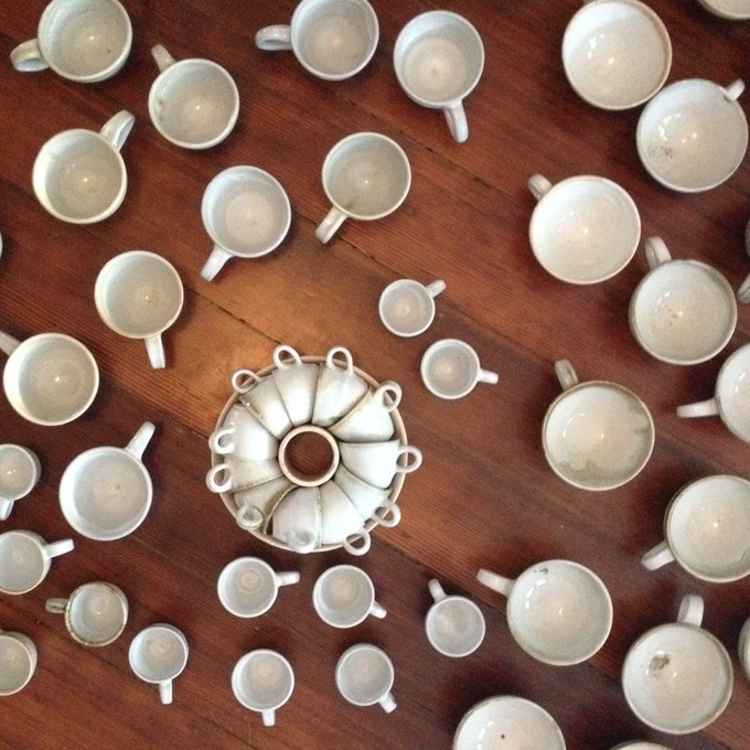 Douglas Dowers' ceramics are hand-made and designed to be the perfect shape for latte pouring.
