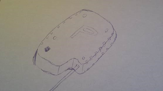 The freestyle hand drawing of what would become the Pixeom device