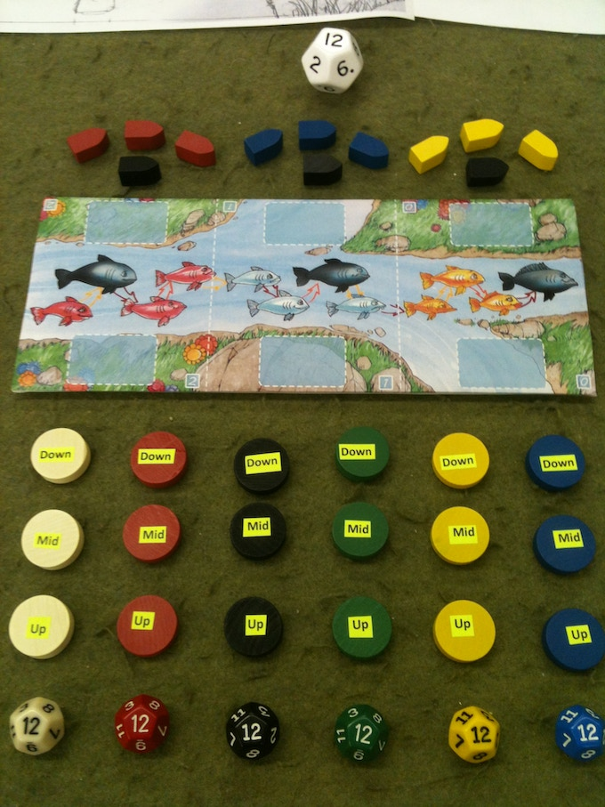 """Game Contents - production versions will be higher quality and will include a nice big fishing die with custom """"1"""" and """"12"""" sides only if we reach our +$5,000 stretch goal."""