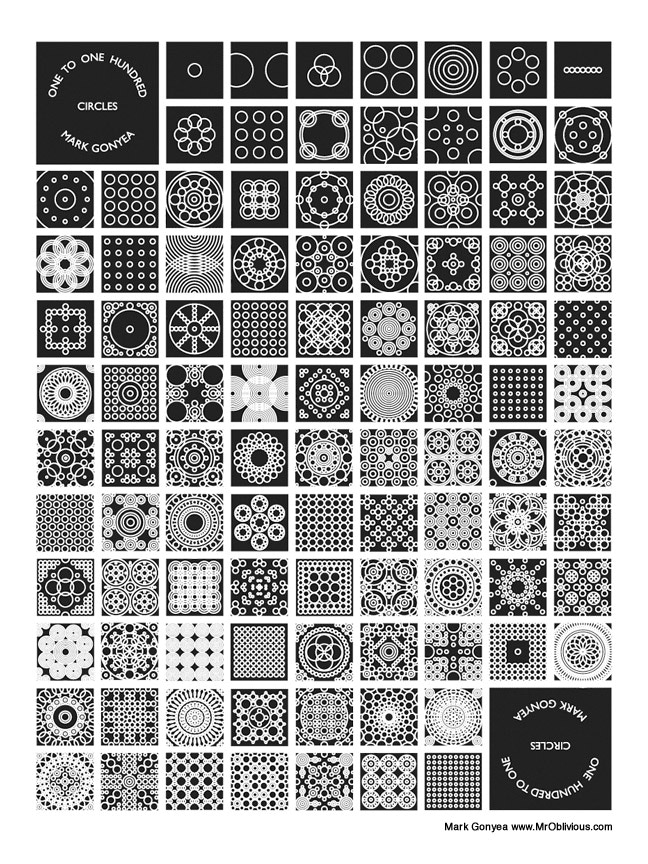 One to One Hundred Circles. Variable circle sizes but with a consistent outline weight.