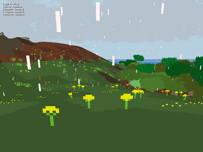 An early shot of Proteus, a brilliant example of the interactivity between music and gameplay