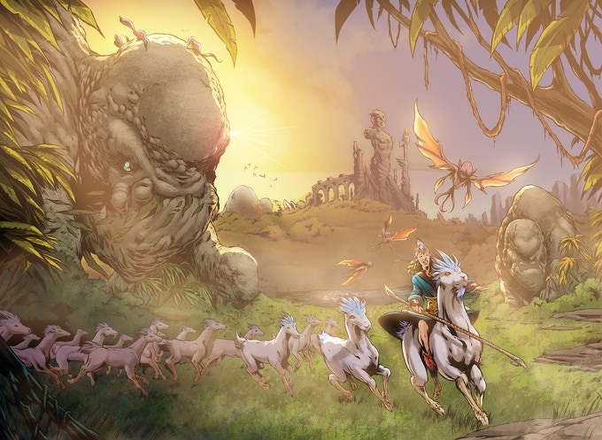 Astrid and her flock of ghazals, riding through the Valley of the Fallen.