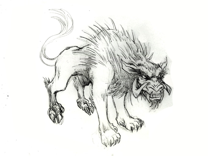 Sketch of the Thanacht, a mythical beast thought extinct a thousand years ago
