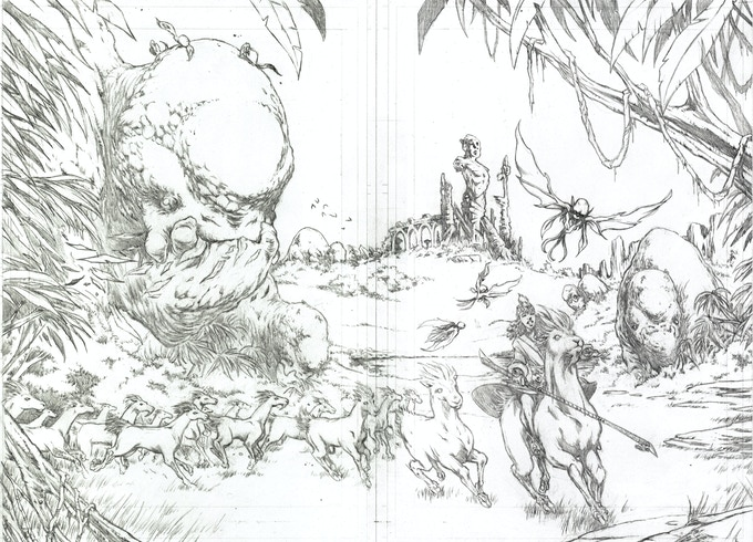Two-page spread, pencilled by Ron Joseph