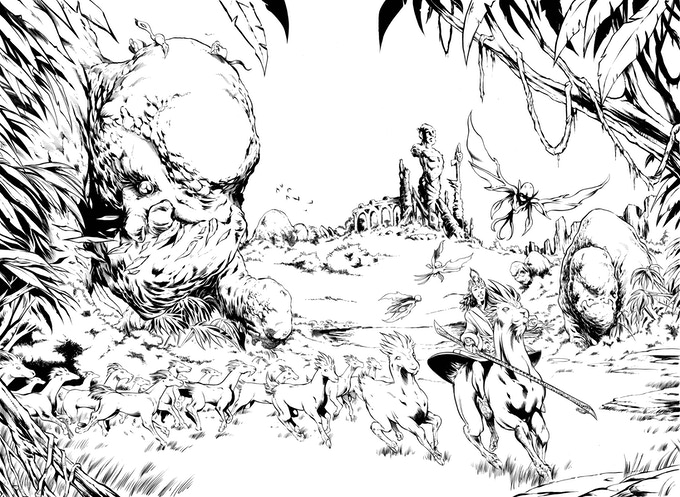 Jake Isenberg's Inks on the 2-page spread