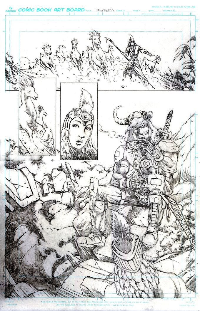 Ron's pencils on a page introducing Rul, the lead poacher