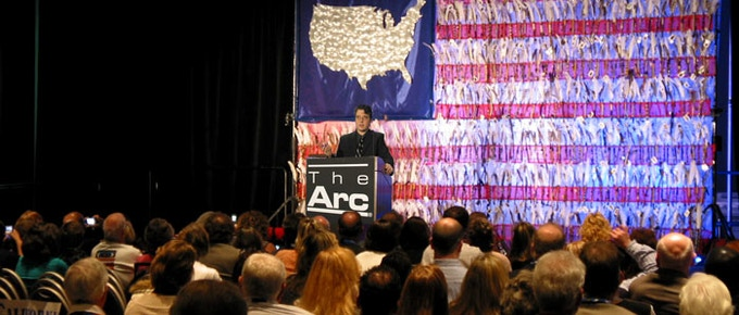 """Director/Editor Lane Wyrick introducing """"A Friend Indeed - The Bill Sackter Story"""" before its screening at The Arc's National Convention"""