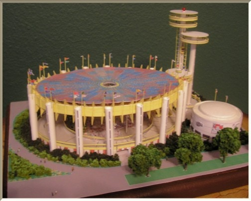 "Scale Model of the NYS Pavilion 1:1600 or 1""=50'"