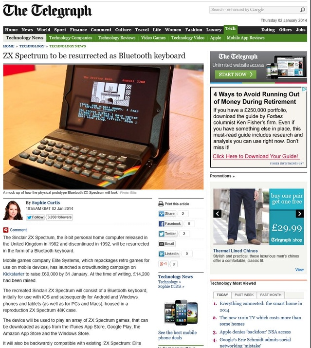 Sophie Curtis at The Telegraph covers the Kickstarter appeal for the Bluetooth ZX Spectrum