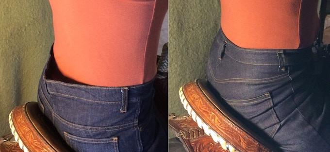 Regular jeans = gap ... Smooth Stride Scoop Fit = no gap!