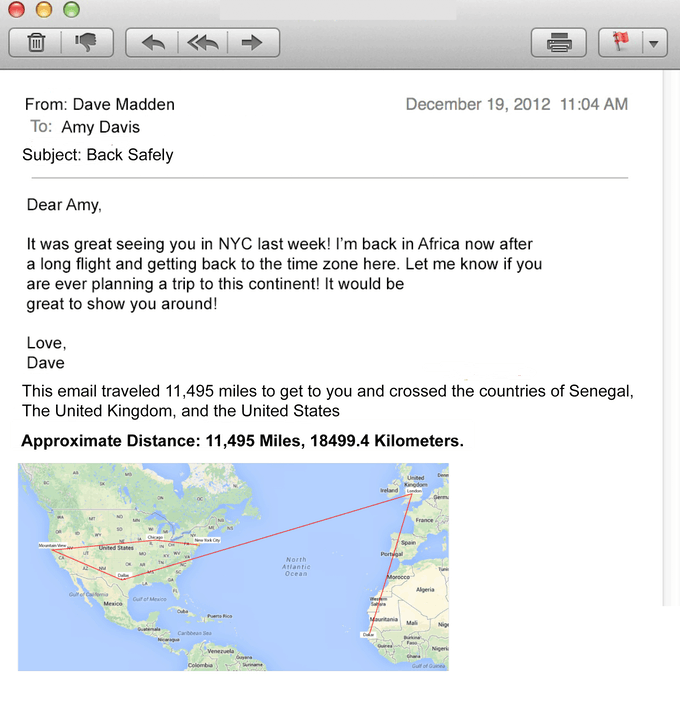 Screenshot from Email Miles Plugin Result