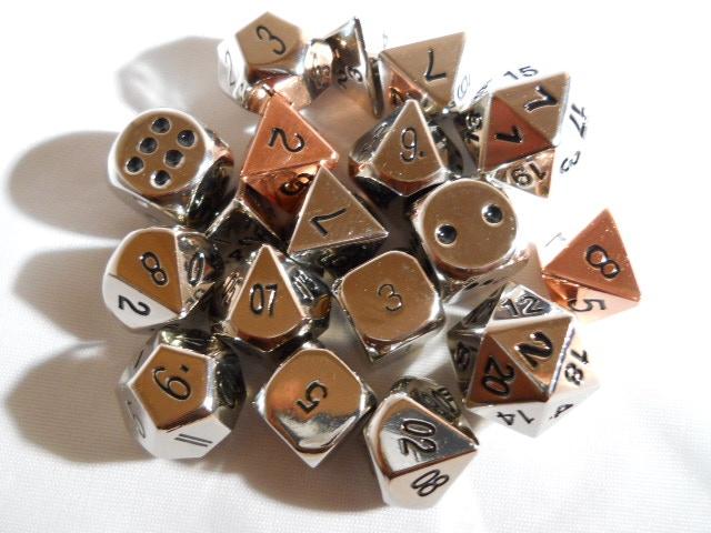 Solid Metal Polyhedral Dice Steel