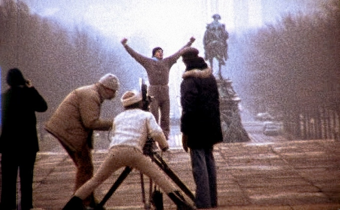 """Avildsen on the camera filming one of the most iconic scenes in the history of cinema, """"Rocky"""" (1976)"""