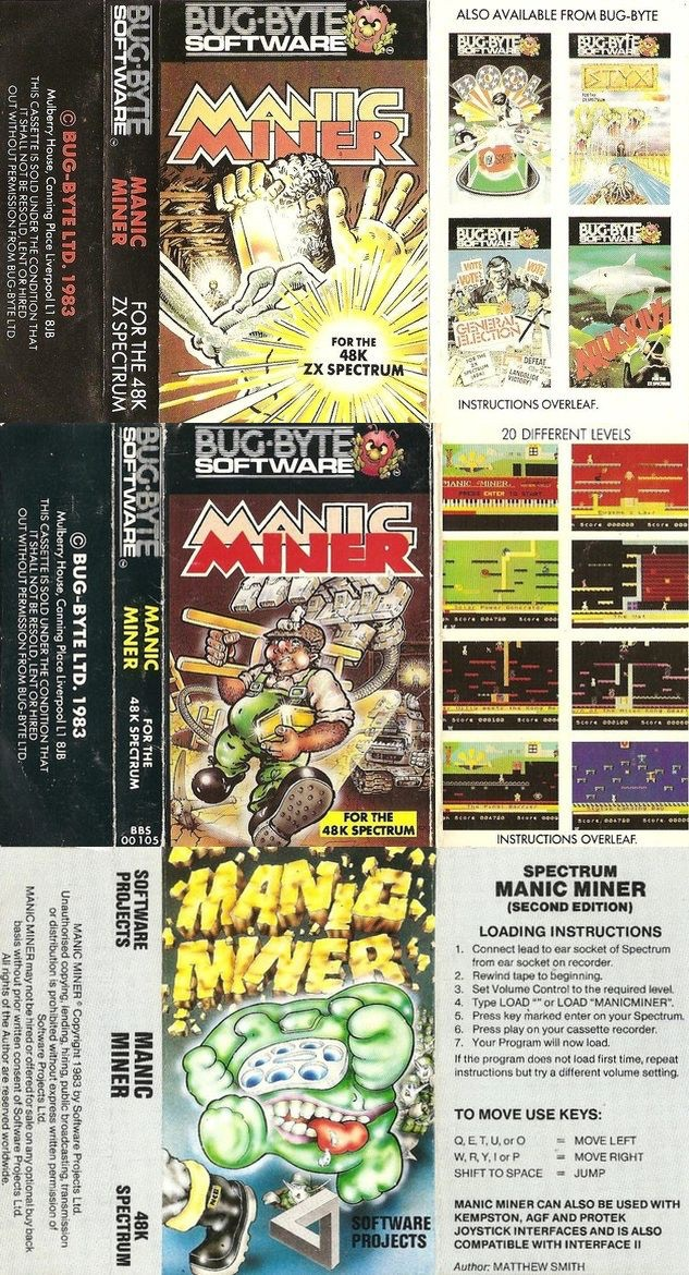 Matthew Smith's first ZX Spectrum game, Manic Miner was originally published by Bug Byte and in total cassette inlay art for three versions of Manic Miner was created and published.