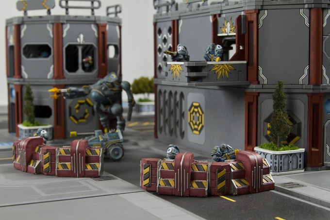 Seen here with Deadline Defense Line from FireBucket Games' Corporate Warzone range.