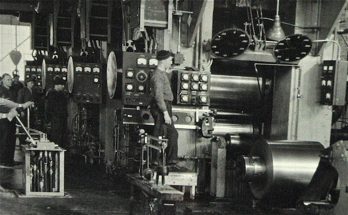 Floyd I (far left) - First cold rolled strip produced at Republic Steel. Youngstown, 1937