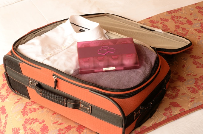 Airsafe Carryon in a roll-on luggage bag.