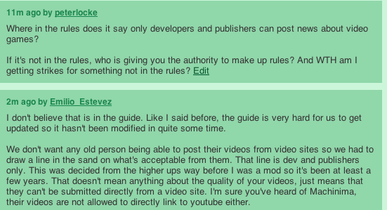 n4g mods are allowed to make up rules on the spot in order to justify blocking user submitted videos.