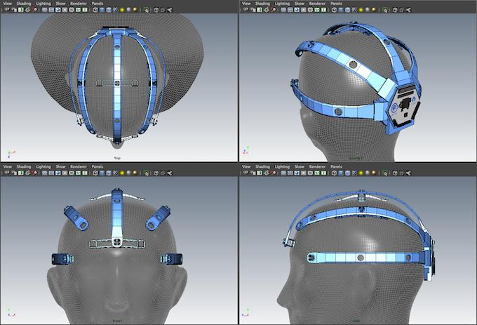 4-view screenshot of the OpenBCI 3D-Printable Headset digital prototype in Autodesk Maya