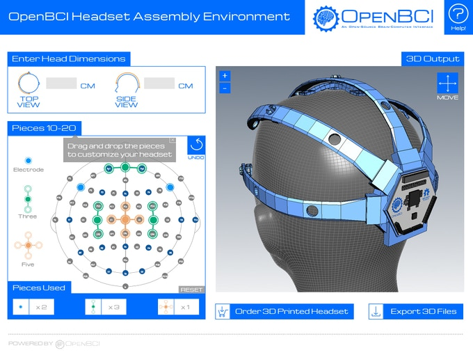 "A digital mockup of the ""OpenBCI 3D-Printable Headset Assembly Environment"""