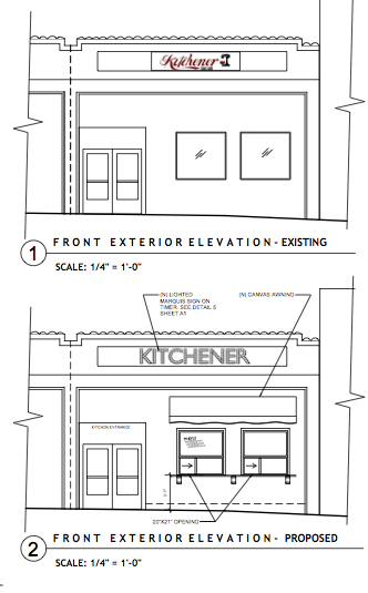 Proposed elevation drawings of our Kitchener Snack Bar