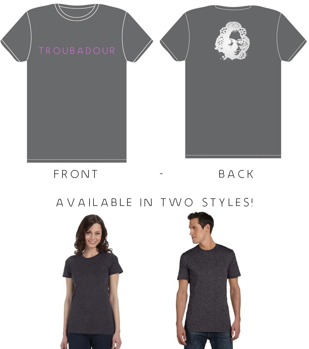 Dark Heather Grey Bella+Canvas Tee. Design not final. T-shirt available at levels $50 and up. Supporters can choose style and size.