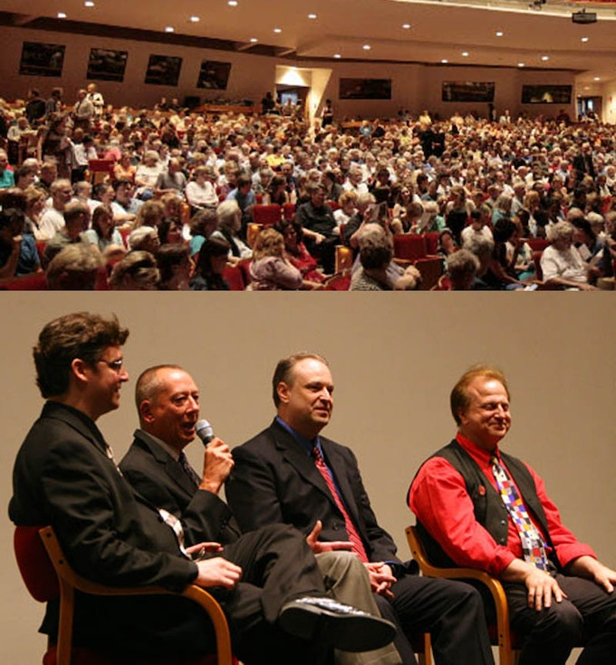 """Lane Wyrick, Barry Morrow, Peter Bloesch and Jack Doepke at the Hancher Premiere of """"A Friend Indeed - The Bill Sackter Story"""" in Iowa City"""