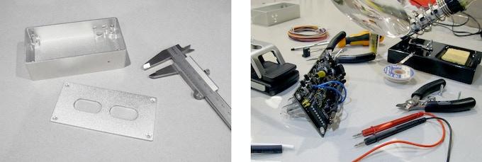 CNC machined prototype, electronics assembly.