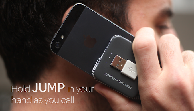 With it's compact size, JUMP is small enough to hold behind your phone as you call.