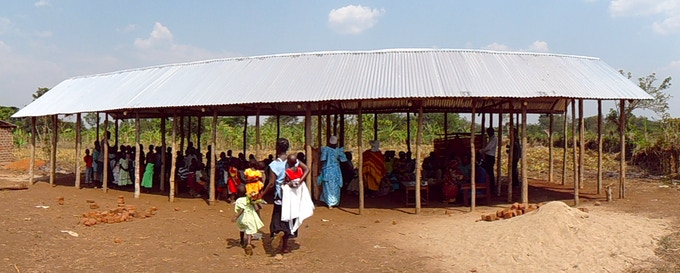Wanteete's school during it's initial building phase, circa 2010.