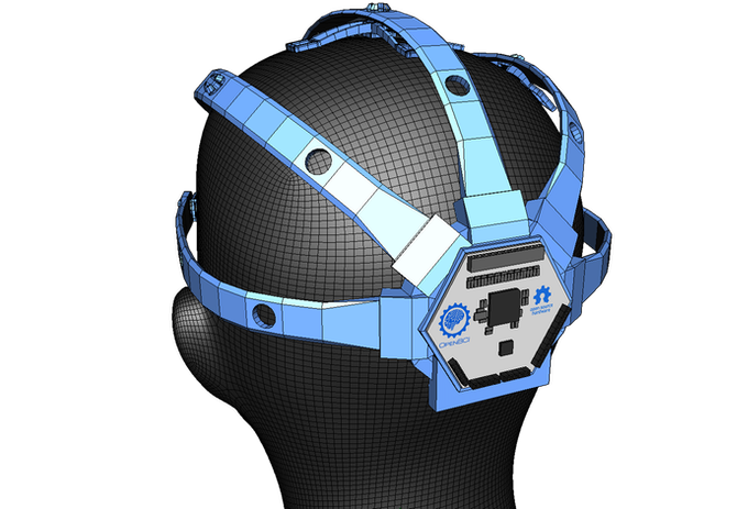 The OpenBCI Board mounted onto the OpenBCI 3D-Printable Headset