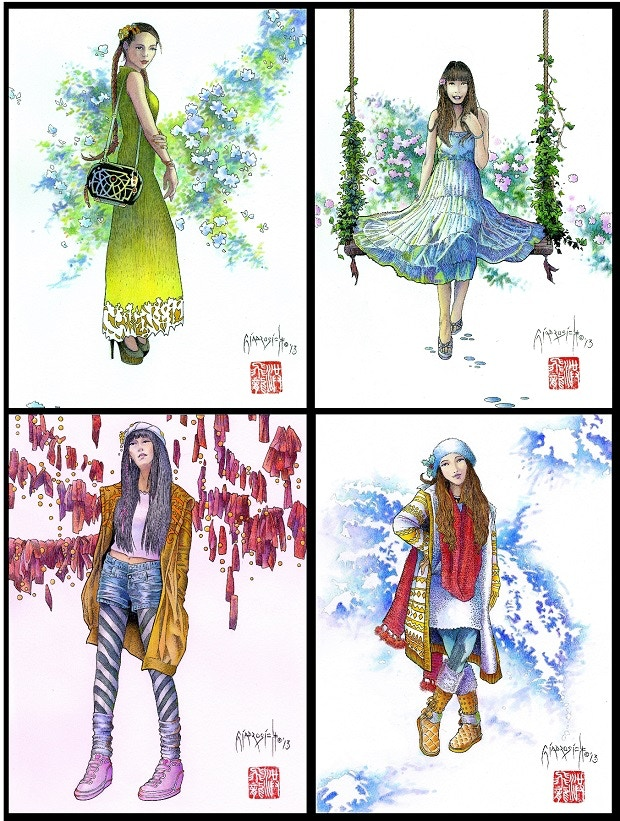Set One: Girls of Modern China (from top left, clockwise): Spring in Shanghai, Summer in Changde, Autumn in Guangzhou, Winter in Beijing