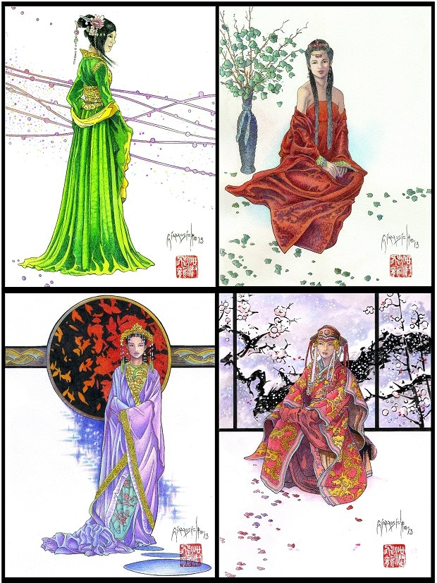 Set Two: Girls of Ancient China (from top left, clockwise): Spring in Zhangjiajie, Summer in Yangshao, Autumn in Changsha, Winter in Harbin