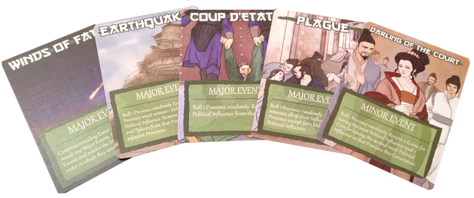 Some of the Events that will trigger at the beginning of each Generation (round of play) past the first. Watch out for the Winds of Fate!