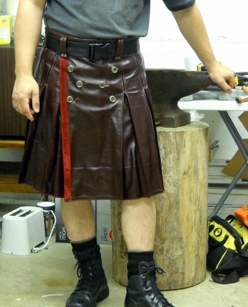 Oxblood leather kilt