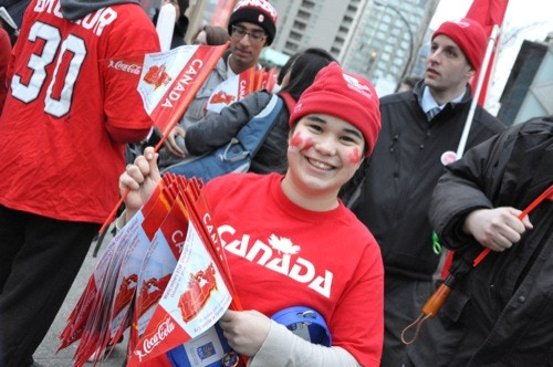 Canadian fan at the Vancouver 2010 Torch Relay
