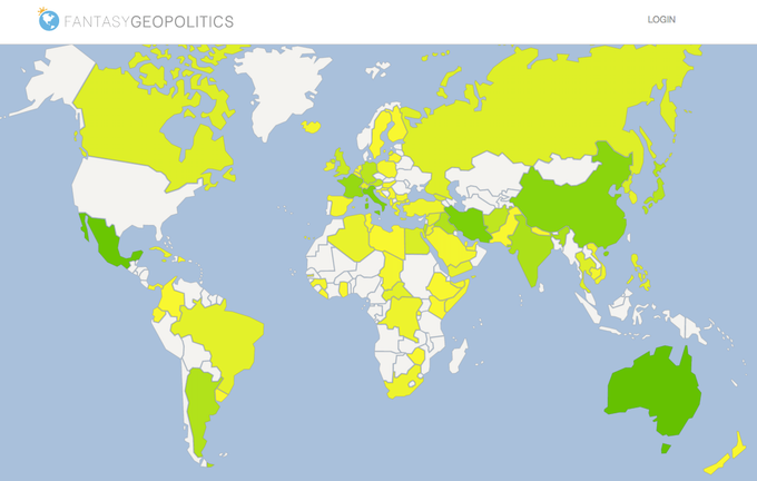 Scores map: Green = trending