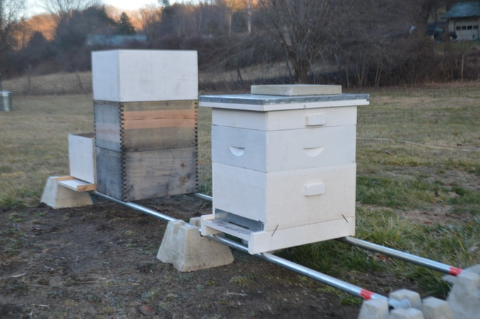 One of our hives.  It's a cool day, so the bees are staying inside to stay warm.
