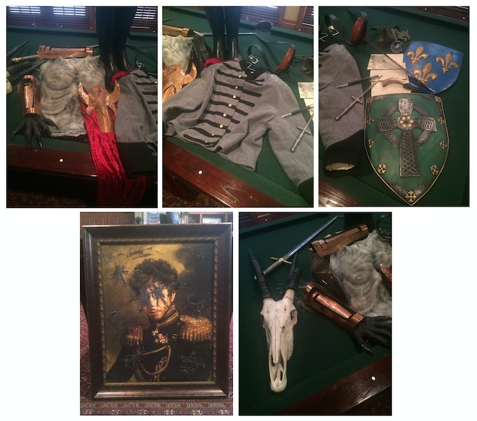 Just a sampling of the many props and costumes available as rewards. All were seen on screen. In the photo is the Dagon hands, chest piece and belt piece. Alexander's military jacket and boots. Terrance's and Marcus' knifes. The death swords and more!