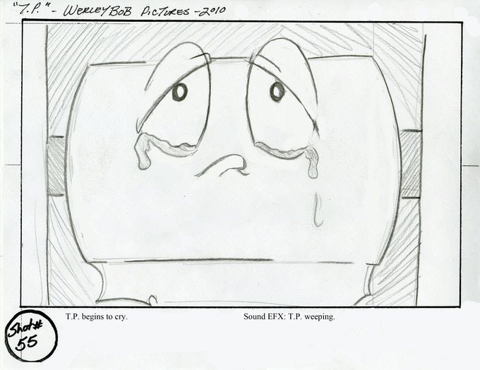 Several hundred storyboard panels like this one...poor little guy.