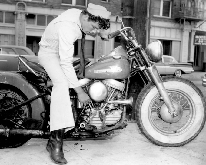 "Neon Koper in ""Motorcycle Thief"", c.1958.    [Permission of Mizer Foundation]"